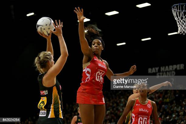 Eboni BeckfordChambers of England defends Maryka Holtzhausen of South Africa attempt at goal during the 2017 Quad Series match between the England...