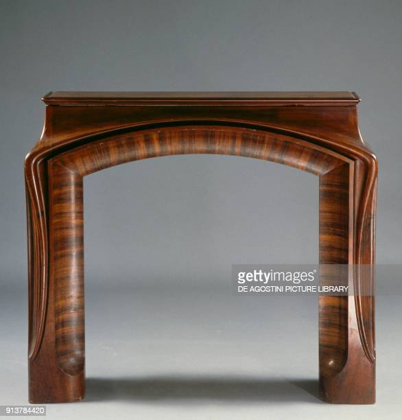 Ebony and mahogany fireplace mantel made by Louis Majorelle France 19th century