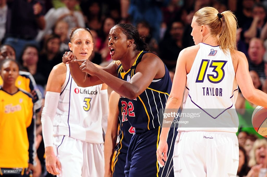 Ebony Hoffman #32 of the Indiana Fever reacts in Game Five of the WNBA Finals against the Phoenix Mercury at U.S. Airways Center on October 9, 2009 in Phoenix, Arizona. The Mercury won 94-86.