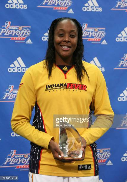 Ebony Hoffman of the Indiana Fever was named the 2008 WNBA's Most Improved Player prior to the Fever taking on the Detroit Shock in Game One of the...