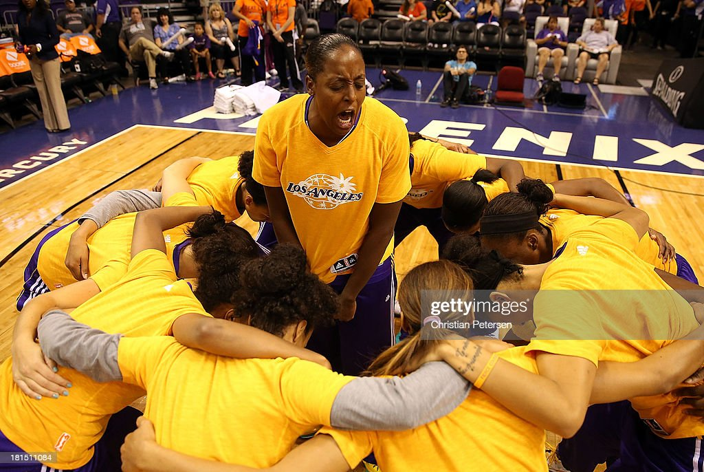 Ebony Hoffman #16 of the Los Angeles Sparks huddles up with teammates as they are introduced to Game Two of the WNBA semifinal playoffs against the Phoenix Mercury at US Airways Center on September 21, 2013 in Phoenix, Arizona. The Sparks defeated the Mercury 82-73.