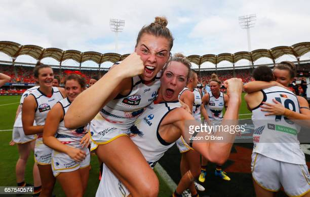Ebony Marinoff and Talia Radan of the crows celebrate during the AFL Women's Grand Final between the Brisbane Lions and the Adelaide Crows on March...