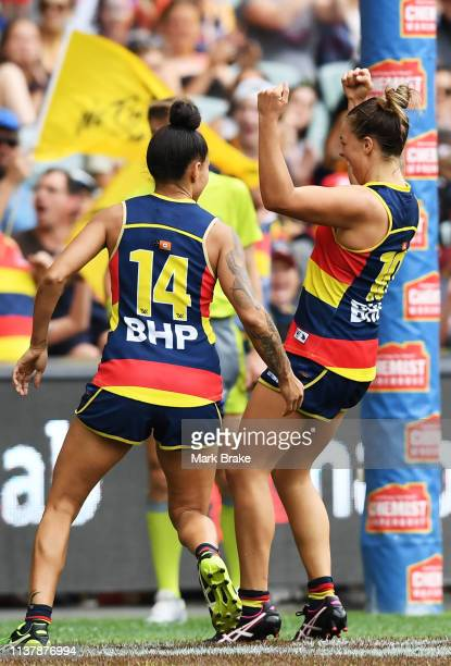 Ebony Marinoff of the Adelaide Crows celebrates a goal during the AFLW Preliminary Final match between the Adelaide Crows and thew Geelong Cats at...