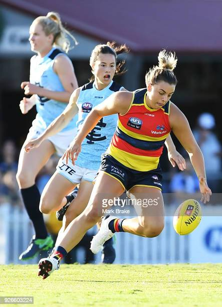 Ebony Marinoff of the Adelaide Crows during the round five AFLW match between the Adelaide Crows and the Carlton Blues at Norwood Oval on March 3...