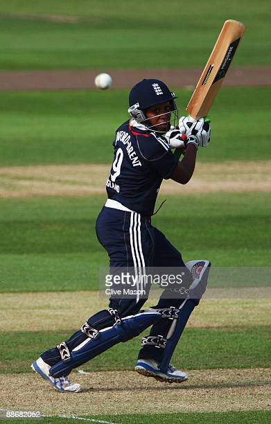 Ebony Rainford-Brent of England in action during the Twenty20 International match between England Women and Australia Women at the County Ground, on...
