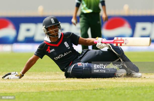 Ebony RainfordBrent of England slips over while running between wickets during the ICC Women's World Cup 2009 round two group stage match between...