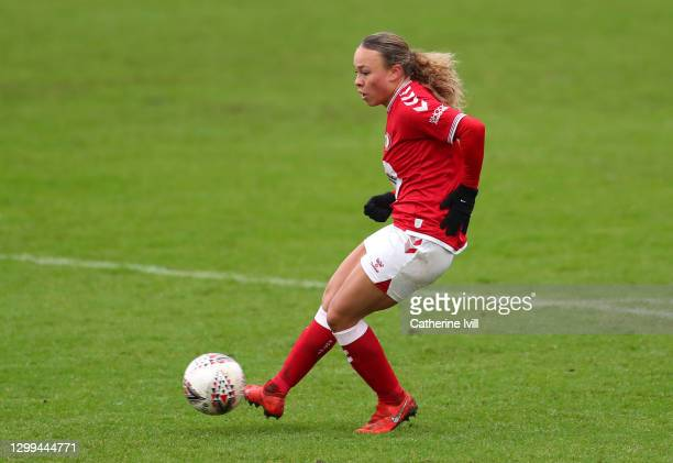 Ebony Salmon of Bristol City scores her team's second goal during the Barclays FA Women's Super League match between Bristol City Women and Brighton...