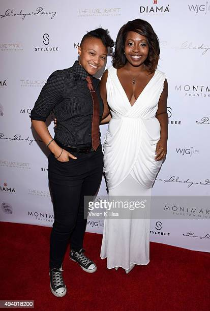 Ebony Sargent and Meagan Sargent attend the Pia Gladys Perey Spring/Summer 2016 Fashion Show at Sofitel Hotel on October 23 2015 in Los Angeles...