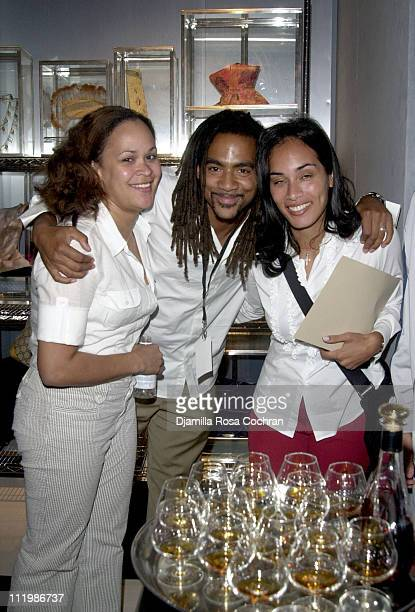 Ebony Shears Tony Shellman and Dana Baxter during 2002 New York Fashion Week Vogue Courvoisier Party at Bryant Park in New York New York United States