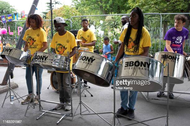 Ebony steel band play in preparation for the upcoming Notting Hill Carnival on August 22nd 2019 in London England United Kingdom An expected 1...