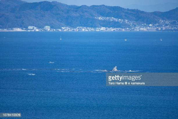 Eboshi Rock Island in Chigasaki Beach in Sagami Bay, Northern Pacific Ocean in Japan
