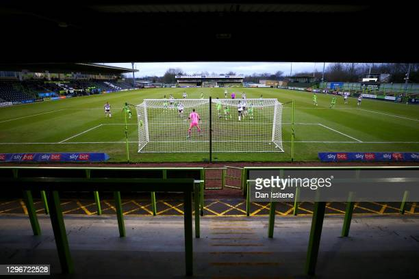 Ebou Adams of Forest Green Rovers attempts to clear the ball in the penalty area during the Sky Bet League Two match between Forest Green Rovers and...