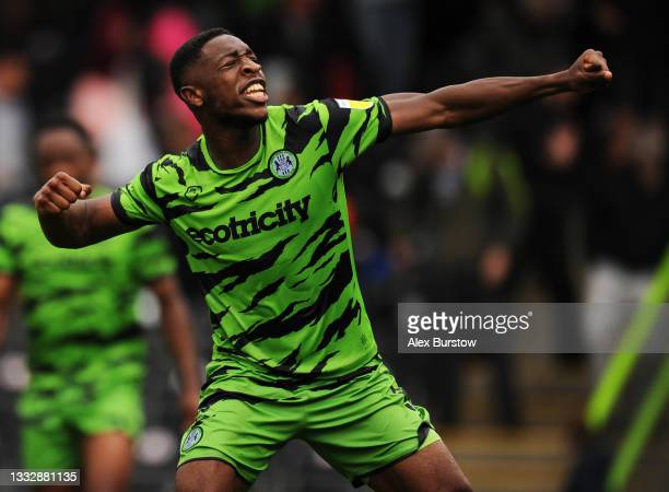 Ebou Adams of Forest Green Rovers celebrates his team's victory at full-time after the Sky Bet League Two match between Forest Green Rovers and...