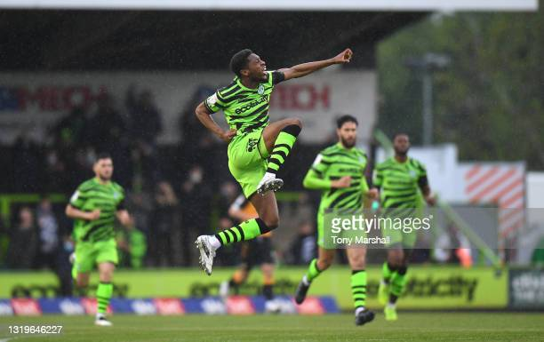 Ebou Adams of Forest Green Rovers celebrates scoring their first goal during the Sky Bet League Two Play-off Semi Final 2nd Leg match between Forest...