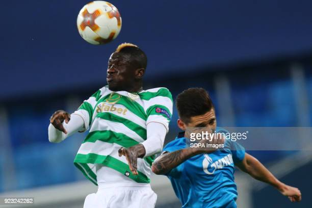 Eboué Kouassi of Celtic and Matías Kranevitter of FC Zenit Saint Petersburg vie for the ball during the UEFA Europa League Round of 32 football match...