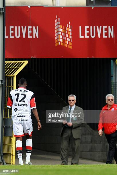 Ebrahima Sawaneh Ibou of OH Leuven shows dejection during match day 1 of the Final Round in the second division match between Oud Heverlee Leuven and...