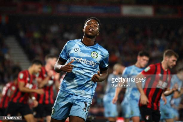 Ebrima Adams of Forest Green Rovers reacts during the Carabao Cup Second Round match between AFC Bournemouth and Forest Green Rovers at Vitality...
