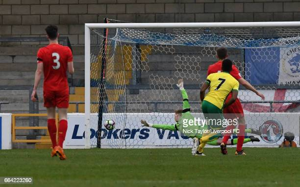 Ebrima Adams of Norwich City scores during the Liverpool v Norwich City U23 Premier League Cup game at Lookers Vauxhall Stadium on April 3 2017 in...