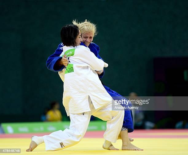 Ebru Sahin of Turkey and Maryna Cherniak of Ukraine compete in the Women's Judo 48kg semifinals during the Baku 2015 European Games at the Heydar...