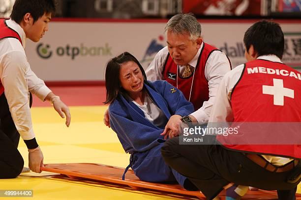 Ebru Sahin of Turkey reacts in pain in the Women's 48kg bronze medal match between Ebru Sahin of Turkey and Nataliya Kondratyeva of Russia at Tokyo...