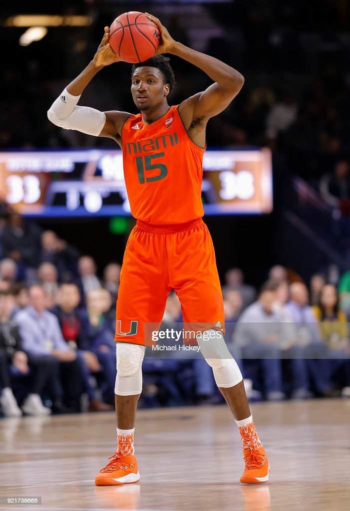 Ebuka Izundu #15 of the Miami (Fl) Hurricanes holds the ball against the Notre Dame Fighting Irish at Purcell Pavilion on February 19, 2018 in South Bend, Indiana.