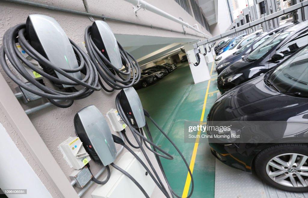 E-car parkings are seen in Cheung Sha Wan. 25NOV16 SCMP / Felix Wong : News Photo