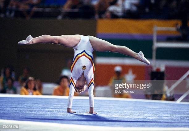 Ecaterina Szabo of Romania competes in the women's floor competition of the artistic gymnastics events at the 1984 Summer Olympics in Los Angeles in...