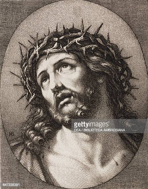 Ecce Homo engraving by Hugo Burkner based on a painting by Guido Reni in Dresden Paris Rome Florence Montpellier by Leon Curmer 1863