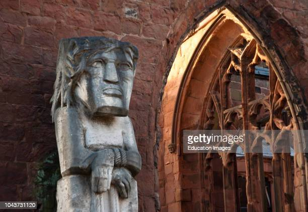 Ecce Homo Statue by Jacob Epstein in ruins of old Coventry Cathedral Warwickshire UK