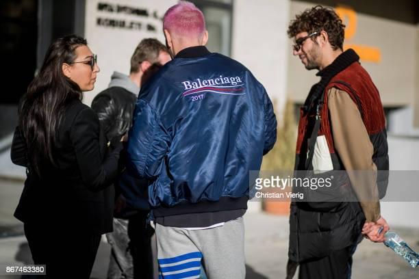 Ecce Homo wearing Balenciaga jacket is seen during Tbilisi Fashion Week Spring/Summer 2018 on October 28 2017 in Tbilisi Georgia