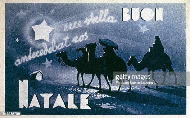 'Ecce stella antecedebat eos' The star guides the Magi traveling on camels in the desert Postcard greeting lithographic monochrome blue night Italy...