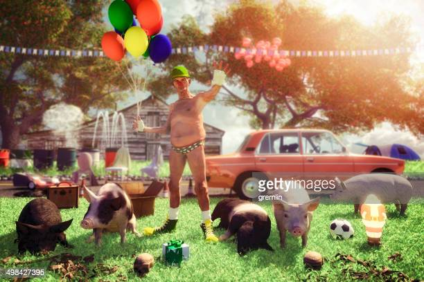 eccentric funny old clown protecting his bizarre farm home - redneck stock photos and pictures