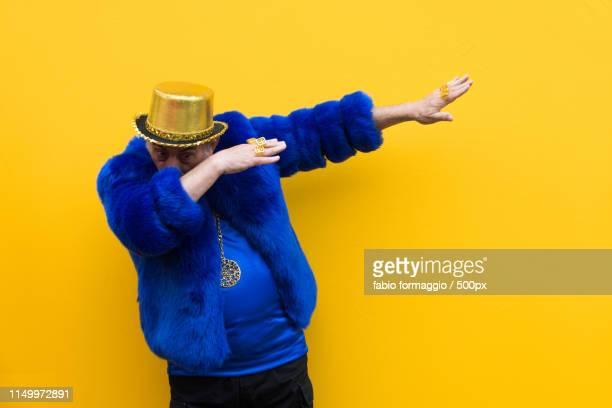 eccentric senior man portrait - 金ピカ ストックフォトと画像