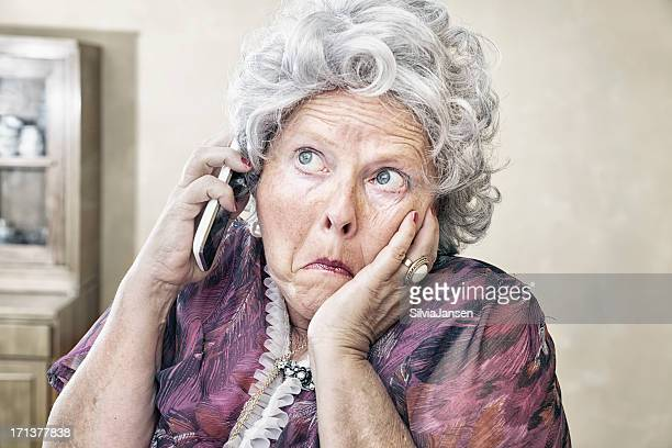 eccentric senior woman on the phone