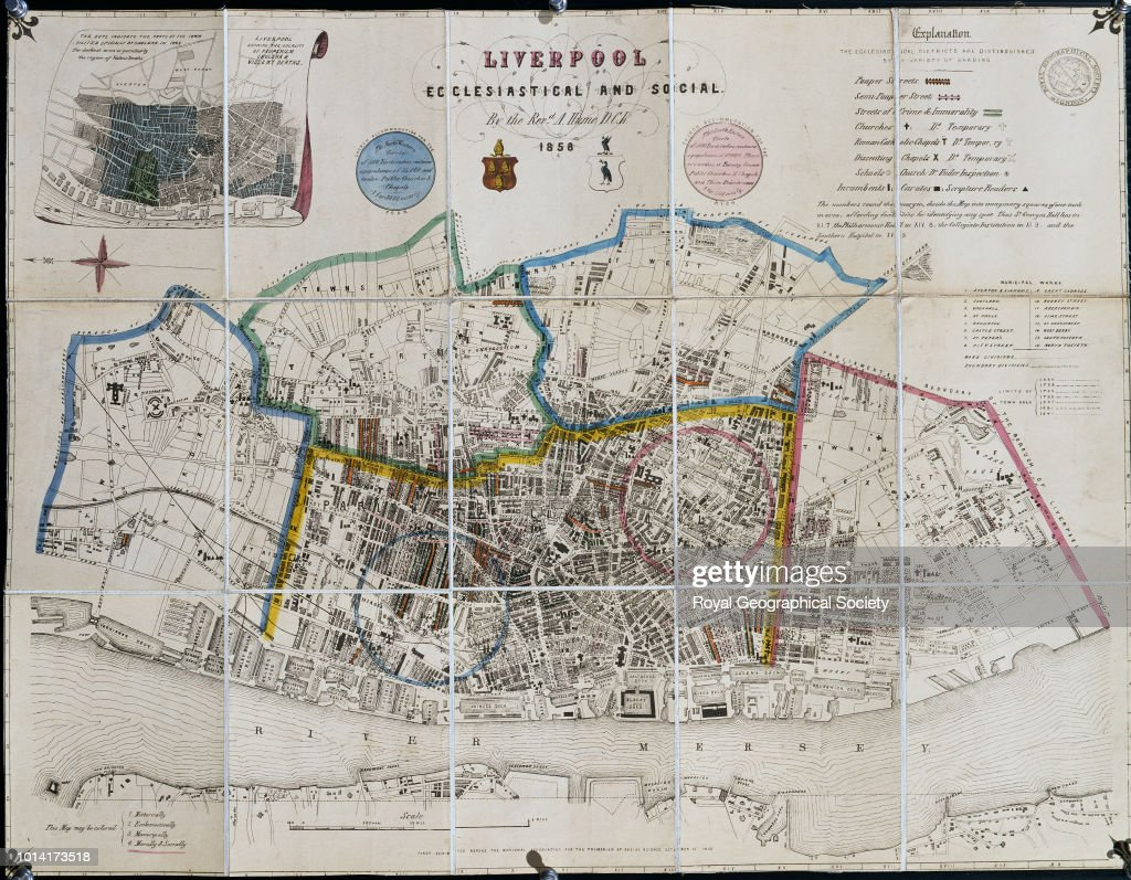 Ecclesiastical and Social map from Abraham Hume's 'Four Maps of Liverpool: Ecclesiastical, Historical, Municipal, Moral and Social' : News Photo