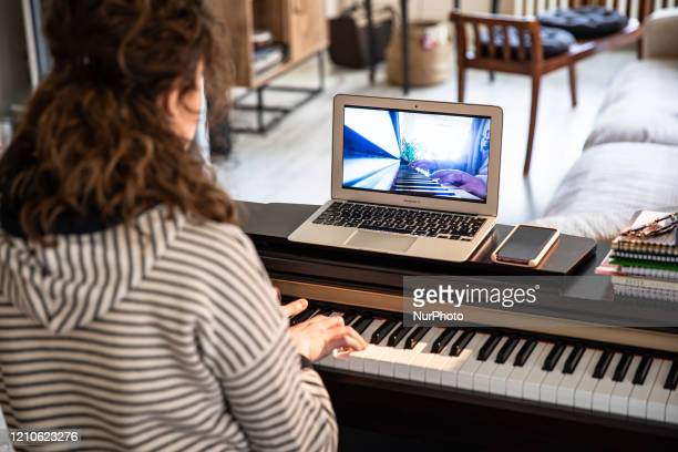 Ece Sermet whose many organizations and concerts were canceled within the scope of COVID19 measures continues the cello and piano lessons online with...