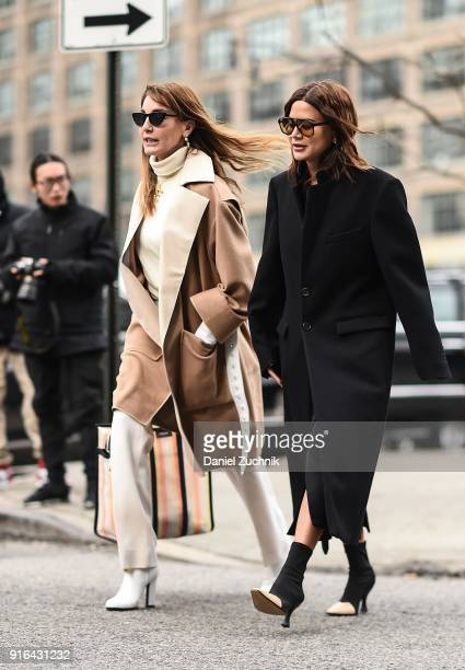 Ece Sukan and Christine Centenera are seen outside the Jason Wu show during New York Fashion Week Women's A/W 2018 on February 9 2018 in New York City