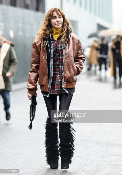 Ece Sukan is seen outside the Tibi show during New York Fashion Week Women's A/W 2018 on February 11 2018 in New York City