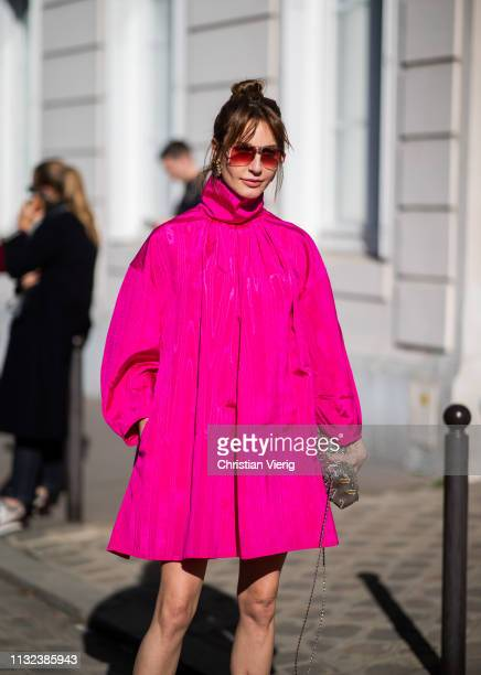 Ece Sukan is seen wearing pink jacket outside Dior during Paris Fashion Week Womenswear Fall/Winter 2019/2020 on February 26 2019 in Paris France