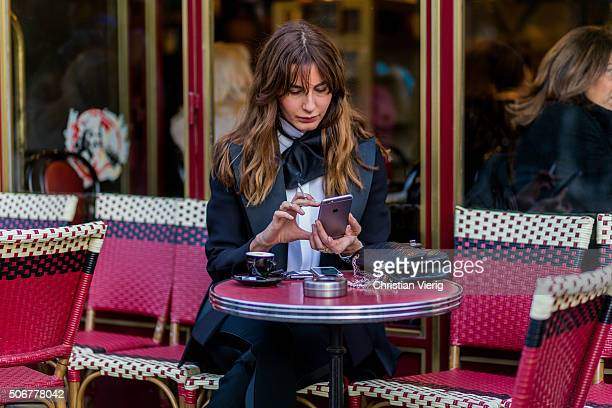 Ece Sukan outside Dior during the Paris Fashion Week Haute Couture Spring/Summer 2016 on January 25 2016 in Paris France