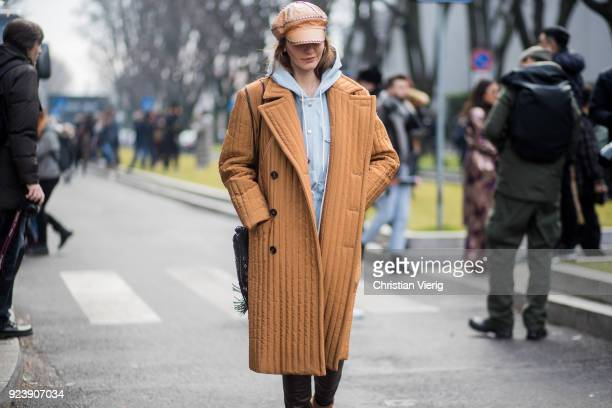 Ece Sukan seen outside Armani during Milan Fashion Week Fall/Winter 2018/19 on February 24 2018 in Milan Italy