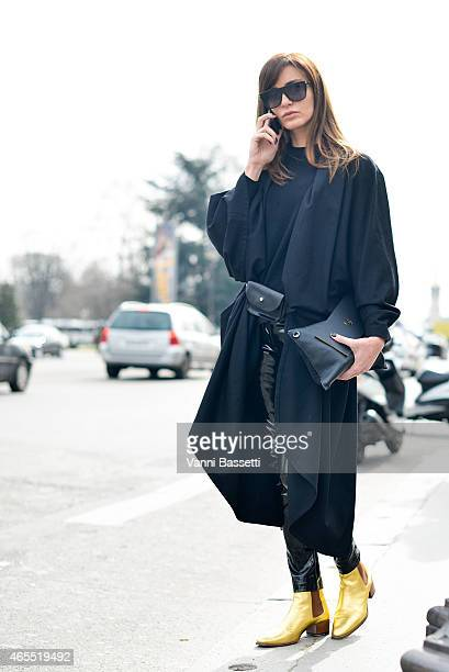 Ece Sukan wears St Laurent boots after the Mugler show on Day 5 of Paris Fashion Week Womenswear FW15 on March 7 2015 in Paris France