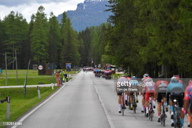 Echelons due Crosswind / Peloton / Landscape / Fans / Public / during the 102nd Giro d'Italia 2019, Stage 18 a 222km stage from Valdaora to Santa...