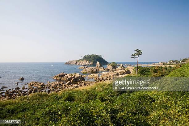 echizen coastline and sea of japan, fukui prefecture, honshu, japan - hokuriku region stock photos and pictures