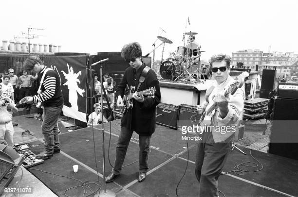 Echo and the Bunnymen rock group playing on London rooftops 6th July 1987
