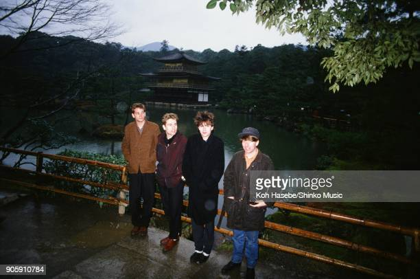 Echo And The Bunnymen taken at Kinkakuji Temple January 1984 Kyoto Japan Ian McCulloch William Sergeant Leslie Pattinson Pete de Freitas