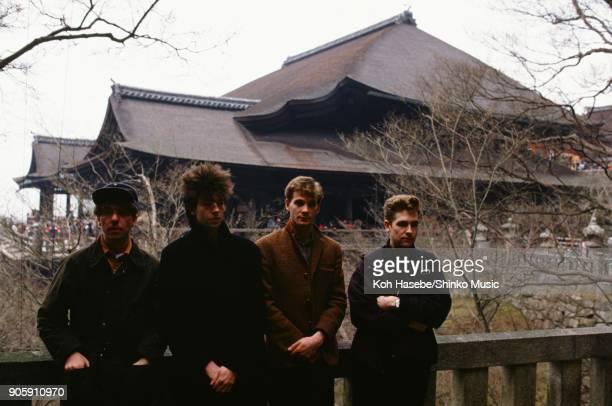 Echo And The Bunnymen taken at Kiyomizu Temple January 1984 Kyoto Japan Ian McCulloch William Sergeant Leslie Pattinson Pete de Freitas