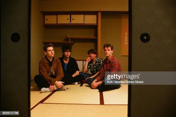 Echo And The Bunnymen taken in a Japanesestyle room January 1984 Kyoto Japan Ian McCulloch William Sergeant Leslie Pattinson Pete de Freitas