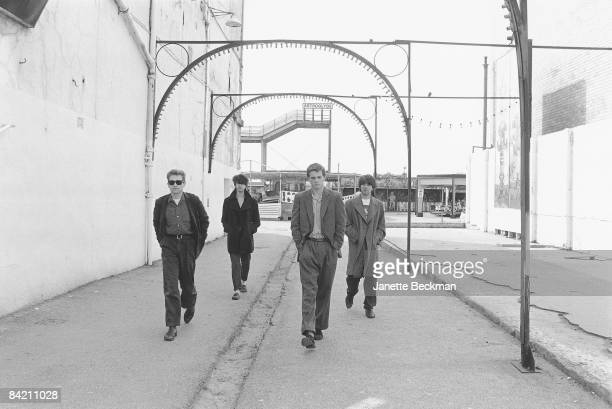 Echo and the Bunnymen walking the streets of Blackpool 1981 L to R Les Pattinson Ian McCulloch Pete de Freitas and Will Sergeant