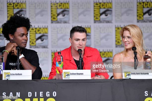 Echo Kellum Colton Haynes and Emily Bett Rickards speak onstage at the Arrow Special Video Presentation and QA during ComicCon International 2018 at...